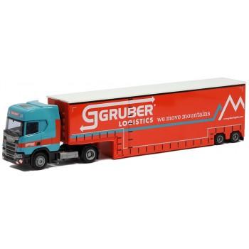 AWM 929241 Scania CR HD svsp. Meusburger Tiefbett Jumbo Gardinen PL Aufl Gruber Logistics