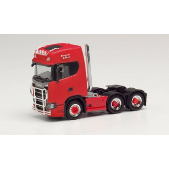 Herpa 314053 Scania CS 20 HD 6x2 m. Pipes Lampenb. Fanf. Ramm. rood 1:87